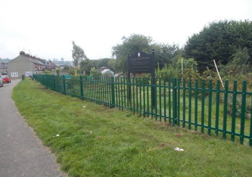 Green palisade security fence