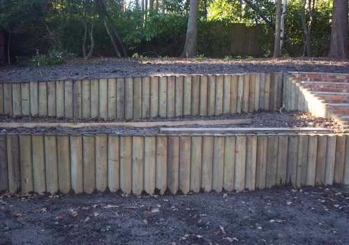 Log Retaining Wall