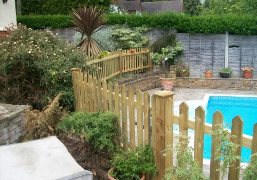 Picket Fence around swimming pool