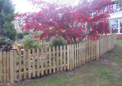 Picket fence round a pond